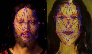 Example of face graph for two randomly selected paintings. The red crosses indicate what we called face basic features. The blue lines show the different distances in between the features.